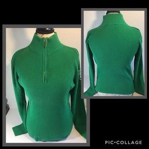 Women's Chaps Denim 1/4 Zip Ribbed Sweater